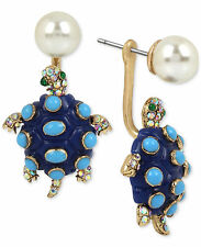 Betsey Johnson Imitation Pearl Enamel Turtle Earring Jacket Earrings