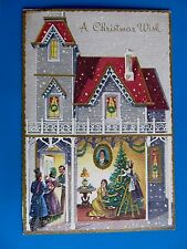 Vintage Christmas Card People in Different Rooms Of House Guest at Door Decorate
