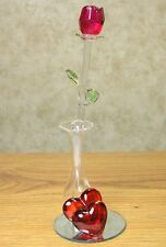 Crystal Red Forever Rose in Glass Vase on Mirrored Base Great Mother's Day Gift