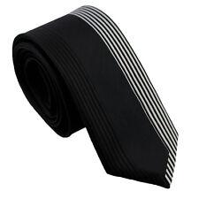 Coachella Ties Black with Silver Contrast Stripe Necktie Microfiber Skinny Tie