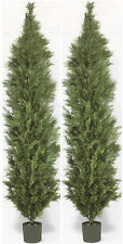 2 Artificial 10 ft Italian Cedar Outdoor Topiary Trees Cypress Patio Pool Fence