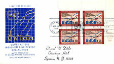 UNITED NATIONS 1968 INDUSTRIAL DEVELOPMENT 13c PLATE BLOCK ON FIRST DAY COVER