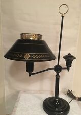 Antique Student Colonial Table/Desk Tole Weighted Metal Lamp Black/gold