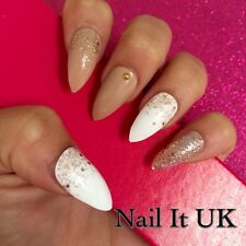 Hand Painted Full Cover False Nails. Stiletto Nude, White, Rose Gold. 24 Nails