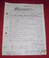 rechnung alt antik carl lang,rechenmacher meister gaisbeuren 1917 papier