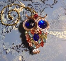 Large Rhinestone Owl~Ceiling Fan Pull Gold~Hook on Chain/Lamps/Auto**~