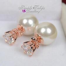 18CT Rose Gold GP Pearl&Created Swarovski Diamond Two Way Wearing Stud Earrings