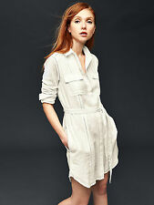 NWT GAP Embroidered shirtdress, New Off White SIZE L TALL  #178018