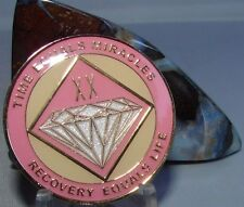 Alcoholics Anonymous AA NA PINK 20 Year Medallion Recovery Token Chip sober