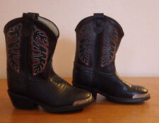 Texas Childrens Cowboy Boots Size 5 1/2 D Black Man Made Material