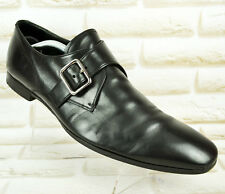 PRADA Single Monk Mens Black Leather Formal Shoes Made in Italy Size 8 UK 42 EU
