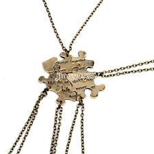 1 Set Best Friends Five Puzzle Pieces Pendant Necklace Friendship Gift Vintage