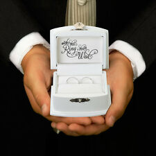 "Ring Bearer Box Alternative Wedding Pillow Scrolled ""With This Ring I Thee Wed"""