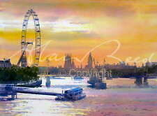 "ORIGINAL ALAN REED WATERCOLOUR ""London Eye"" Landmark River Thames City PAINTING"
