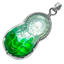 Chinese Emerald Green Jade Jadeite 18K White Gold Plated Kwan Yin Pendant #029