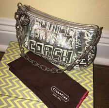 Coach Poppy Silver Storypatch Leather Chain Purse Bag 15892 RARE Limited Edition