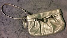 Vintage Coach Silver Leather O-ring Harness Wristlet Retro Glam Pre-owned 6x4