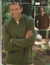 "Country Style DK Men's Sweaters - Sirdar KNITTING PATTERN #8313 38""-48"""