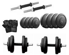 Protoner 22  kg rubber dumbells sets with 2 rods , 22 kg weight & gloves