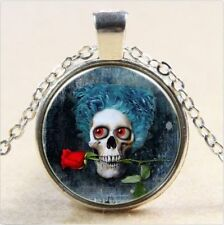Vintage Skull Cabochon Tibetan silver Glass Chain Pendant Necklace @G22