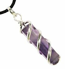 Amethyst Spiral Wrapped Point Pendant Necklace Crystal Healing Stone