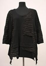 PRISA EUROPEAN JERSEY MIX ASYM PULLOVER TOP SHIRT BLOUSE BLK Sz 1 US 16 $278
