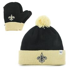 New Orleans Saints - Logo Bam Bam Toddler Pom Pom Beanie Knit Hat and Mitten Set