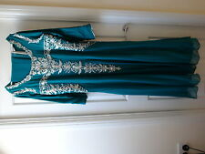 Teal and Silver Indian Evening Party Dress with matching scarf Size XXL
