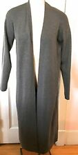 Eileen Fisher VINTAGE S/M Cinder Gray Maxi Long Cardigan Sweater Coat 100% Wool