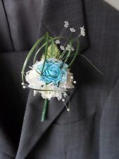 1 Blue & Ivory Rose Corsage Buttonhole Wedding Flowers Artificial