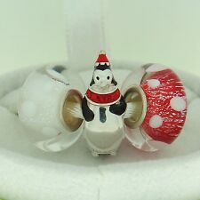 Authentic Chamilia 4010-0410 Limited Edition Penguin Murano Glass Christmas Set