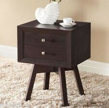 Storage End Table Night Stand Furniture Bedroom 2 Drawer Side Cabinet Brown Wood