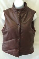 J CREW Leather Puffed Quilt Lined Brown Vest Size S
