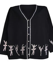 1X 20/22 CHRISTMAS NUTCRACKER BALLET ART DESIGN TERAZZO WOMEN'S CARDIGAN SWEATER