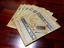 6 GOLD ELEPHANT THAI REED SILK PLACEMATS COASTER ANIMAL PRINT RECTANGULAR DINING