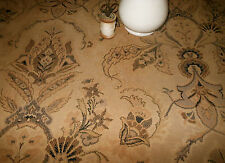 Antique French Indienne Floral Tapestry Fabric ~Black Gray Brown Latte Tan Beige