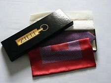 NEW: Zilli Red/ Blue Geometric Patterned Silk Tie and Pocket Square Set (boxed)