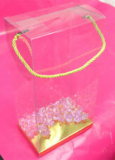 "12~ 6x4x11-1/2"" Rope Handle Clear Plastic PVC Gift Favor Boxes w/ Golden Card"