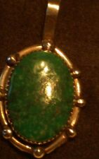 Old Pawn Green Turquoise Pendant; Signed G, 925 Sterling Silver