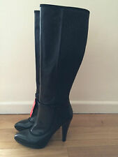 MISS SIXTY PLATFORM KNEE HIGH BOOTS HEELS LEATHER BLACK SIZE 4 37 BNIB