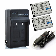 Battery (2-Pack) + Charger for Fujifilm NP45,NP-45, NP45A,NP-45A, NP-45B, NP-45S