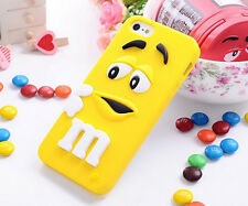 3D Silicone M&M Apple iphone 4/4S 5/5S 5C 6 6Plus Back Cover Case Skin Protector