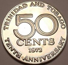 Rare Proof Trinidad & Tobago 1972 50 Cents~16,000 Minted~10th Anniversary~Fr/Shi