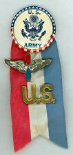 Vintage 1940s WWII United States Army Pinback Button Ribbon Wings & US Insignia