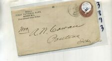 MONROE MICHIGAN 1888 FIRST NATIONAL BANK STAMP COVER