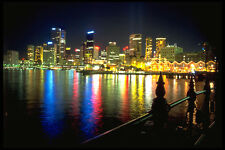 567008 Darling Harbor And The City By Night Sydney Australia A4 Photo Print
