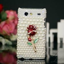 Samsung Galaxy S Advance i9070 Hard Case Perlen Strass Schutz Hülle Etui 3D Rose