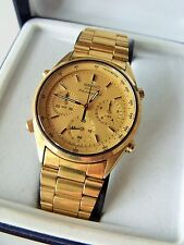 GENT'S GOLD PLATED SEIKO QUARTZ CHRONOGRAPH WRIST WATCH BOXED TA28-7020