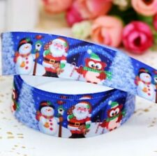 "1M 22mm 7/8"" SANTA OWL FATHER CHRISTMAS GROSGRAIN RIBBON 99p CAKE PARTY XMAS"