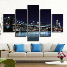 New York City Landscape Bridge Picture Wall Art Decoration Painting 5 Piece